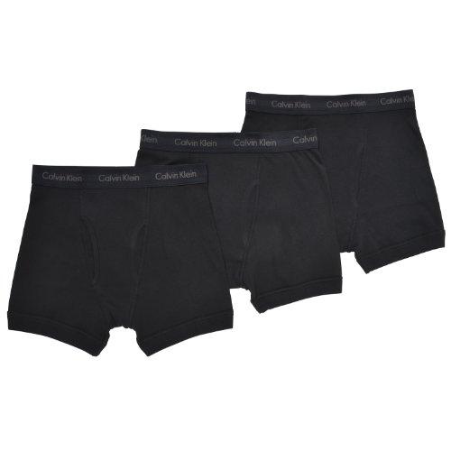 Calvin Klein Men's Underwear Cotton Classics 3 Pack Boxer Briefs, Black, S