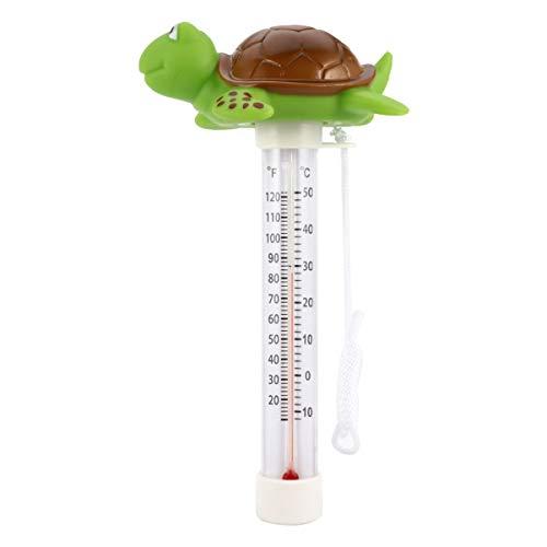 BESPORTBLE Schwimmendes Poolthermometer Cartoon Grüne Schildkröte Badeteich Wasserthermometer mit Schnur für Schwimmbad Bad Spas Whirlpools Fischteiche