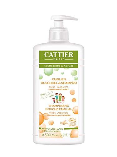 Cattier Duschgel & Shampoo Orangenblüte, für die ganze Familie, zertifizierte Naturkosmetik, 500 ml