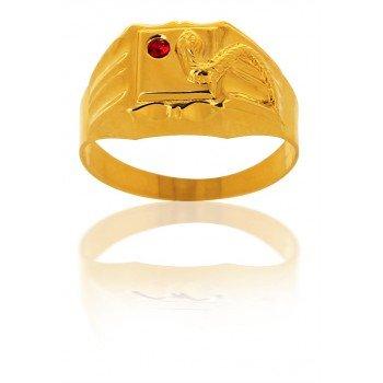 AvenueDuBijou - Anello chevalier in oro giallo con zirconia cubica rubino e serpente 18 carati e Oro giallo, 10, cod. 6299-50