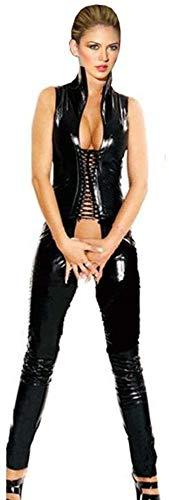 GWQDJ Vestido Ajustado De Piel Brillante para Mujer Sexy Negro Falda De Cuero De Charol Ropa De Rendimiento,M
