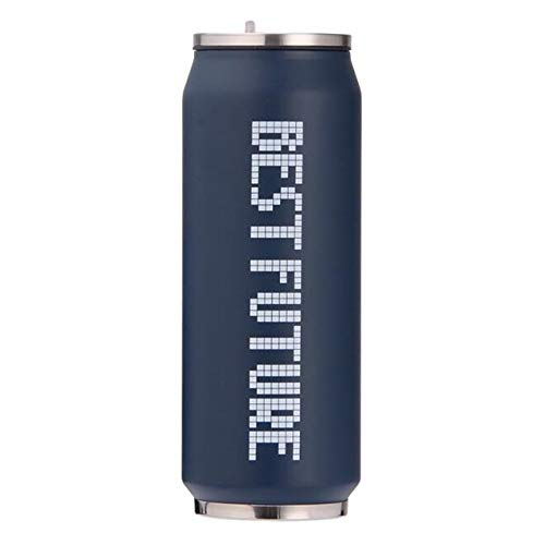 Pajitas portátiles de acero inoxidable Frascos al vacío Bestfuture Latas Termo Taza Bebida fría y caliente Botella de agua Vaso termo taza 350ml Azul