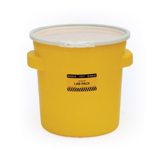 Eagle 1652 Yellow Blow-Molded HDPE Lab Pack with Plastic Lever-Lock Lid, 20 gallon Capacity, 21