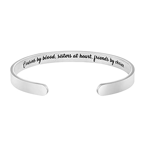 Bracelets for Cousin Gifts for Women Inspirational Stainless Steel Friends Sisters Birthday Christmas Jewelry