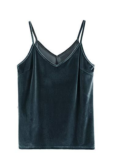 SheIn Women#039s Casual Basic Strappy Velvet V Neck Cami Tank Top Large Blue