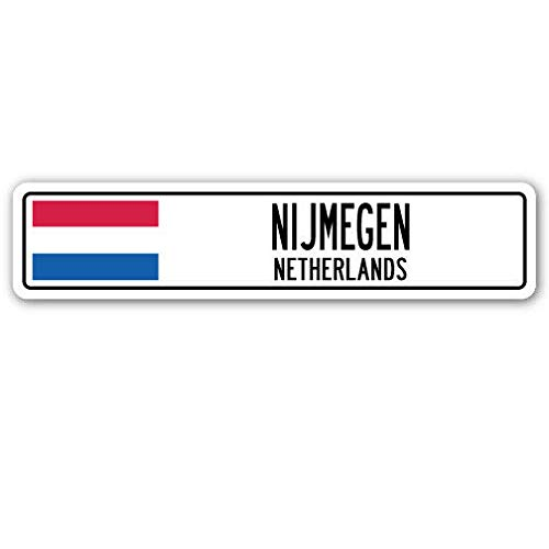 SIGNCHAT Nieuwe Wegbord NIJMEGEN NEDERLAND Aluminium Straat Gebaren Nederlander Nederlandse vlag land Vintage Straat Gebaren 4x16 inch