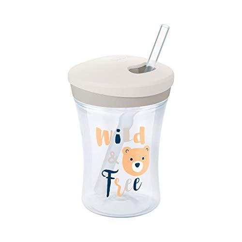 *NUK Action Cup Trinklernflasche, weicher Trinkhalm, auslaufsicher, 12+ Monate, BPA-frei, 230ml, Bär (grau)*