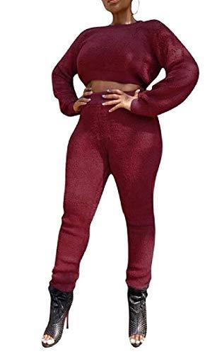 Women Sport Jumpsuit Tracksuit Fleece 2 Pieces Outfits Crop Tops with Pants Set,2,Medium