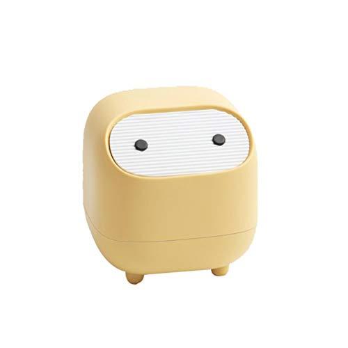 Hidyliu Cesta de papel pequeña en forma de ninja con tapa de empuje y cubo de basura para cocina, baño, oficina, cama