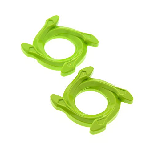 LEGO 2 x System Ninjago Spinner Ring rund Krone 4x4 Lime hell grün 4 Schlangen Kopf Radkappen Set 9445 9443 98342