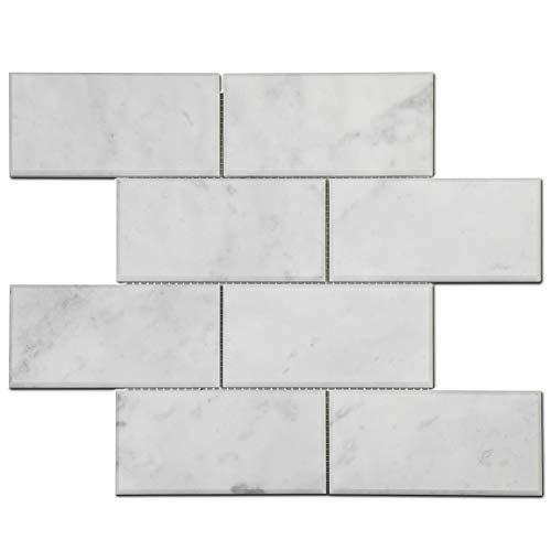 Soulscrafts Italian White Carrara Marble 3 x 6 Brick Subway Mosaic Tile Polished with Beveled Edge for Kitchen Backsplash Bthroom Wall & Floor Tile 5 Sheets/Box