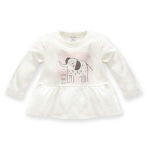 Pinokio - Wild Animals - T-Shirt à Manches Longues pour bébé Fille 100% Coton Blanc, Gris et Rose avec éléphant 62, 68, 74, 80, 86 (86 cm, Ecru Gris)