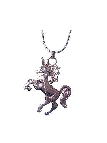 Collar largo con colgante de unicornio de oro rosa.