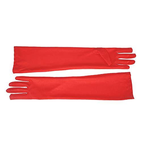 Wilk Frauen Lange Tanz Handschuhe Brautkleides Handschuhe Klassische Elegante Opera Handschuhe für besondere Anlässe Abendgesellschaft (rot)