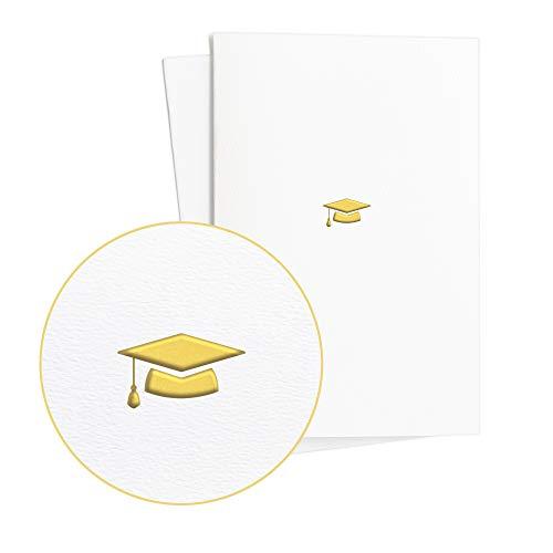 2er Set Glückwunschkarten zur Prüfung mit Doktorhut in Goldfolienprägung auf edlem Papier|Bestandene Prüfung Geschenk|Abitur, Examen, Bachelor, Master, E35