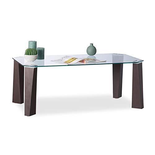 Relaxdays braun Couchtisch Glas, Beine in Holzoptik, gehärtete Tischplatte, modernes Design, 110x60x40cm, transparent, Standard