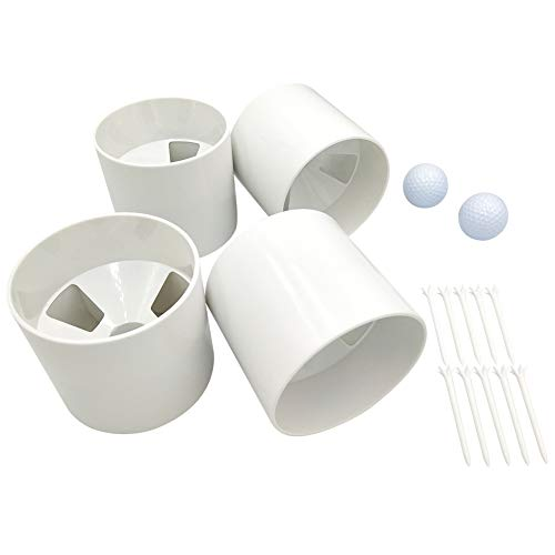 4pcs Golf Green Cups Plastic Golf Hole Cups for Putting Green,2pcs Practice Golf Balls,10pcs Low Friction Plastic Golf Tees (White, 4')