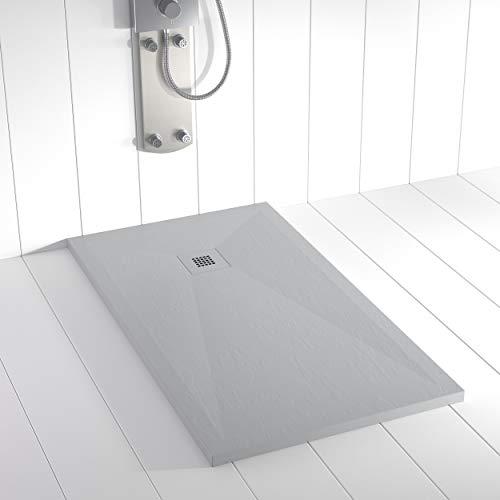 Shower Online Plato de ducha Resina PLES - 70x130 - Textura Pizarra - Antideslizante - Todas las medidas disponibles - Incluye Rejilla Color y Sifón - Gris RAL 7035