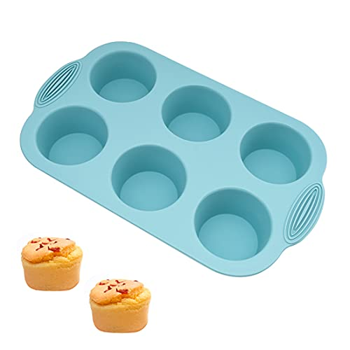 Stampo in silicone per muffin grande, stampo per sapone, a forma di semicerchio, in silicone, con 8 cavità per dolci, cioccolato, torte, gelatine, budini, sapone fatto a mano (bianco, verde)