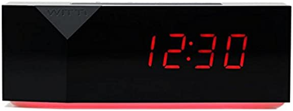 WITTI BEDDI Charge   Alarm Clock with Night Light and 3 USB Port Station, Black
