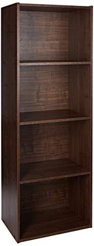 Amazon Marke- Movian, Eckregal mit 4 Fächern / Freistehendes Holzregal, Einfache Montage, abnehmbare und modulare Regale, Büro, Wohnzimmer, Braun