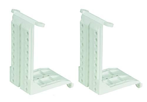 Hettich Adaptador de techo (1 par, herraje para montaje de perfiles de puerta corredera, capacidad de carga 50 kg/par, plástico blanco, para más espacio de almacenamiento) 9219926
