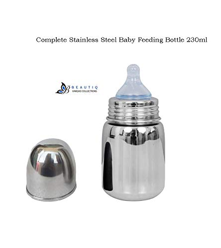 Beautiq Unique Collections Complete Stainless Steel Baby Feeding Bottle 230ml with High Grade Silicon Nipple