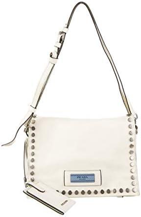 Prada Etiquette Pattina Bianco White Glace Calf Leather Studded Crossbody Handbag 1BD082 product image