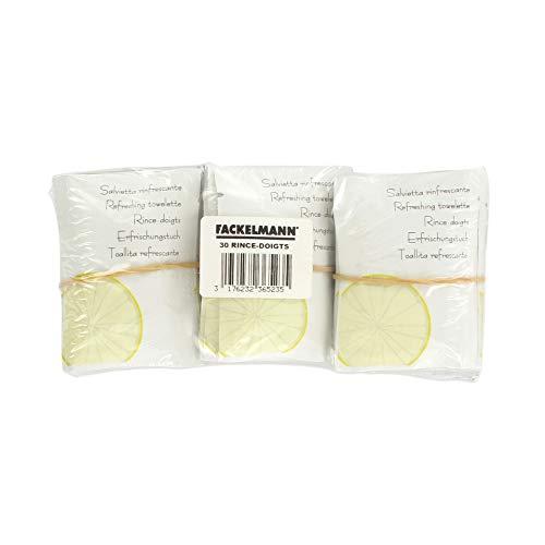 Fackelmann 236523 Lot de 30 rince-Doigts Senteur Citron, Papier, Gris, 17 x 8,5 x 3,5 cm