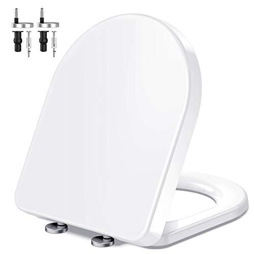 Toilettendeckel, MUJIUSHI Premium D-Form WC Sitz Duroplast Toilettensitz mit Absenkautomatik, rutschfesten Sitzpuffern und Schnellmontage, Antibakteriell für einfache Installation und Reinigung