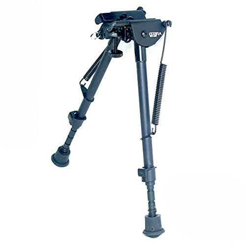 Cobra Tactical Solutions | Tactical Foldable Bipod Adjustable in Height | 9 – 13 Inch | For Airsoft Hunting Varmint Air Rifle Shooting Bench Rest | Equals Harris HBRM