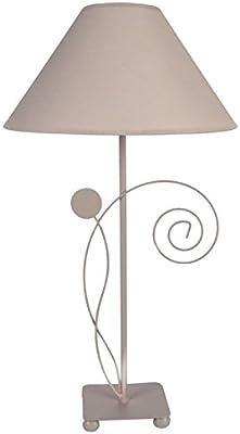 Tosel 63877Conques lámpara de mesa chapa acero/pintura epoxi encalado/algodón taupe 300x 560mm