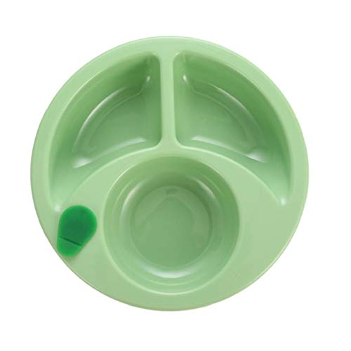 Hot Water Plate Plastic Food Warming Plate for Baby Suction Cup Anti Slip Divided Plates Kids Feeding Plates Green Durable