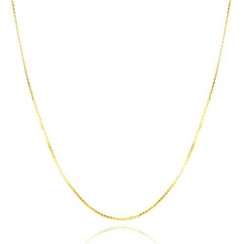 Nocciola Gargantilla de serpentina chapada en oro de 24 quilates, 1 mm, elegante cadena de cuerda para colgantes o capas, collar de joyería para hombres y mujeres con