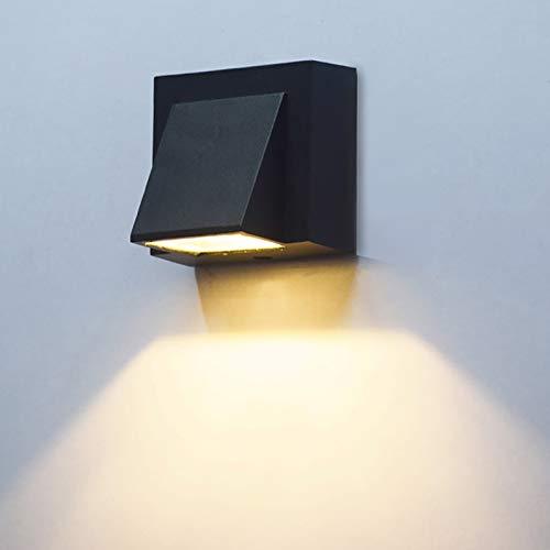 MCLJR Aplique De Pared Led Lámpara De Pared para Exteriores COB Chip Porche Iluminación De Pared Interior Y Exterior Impermeable Iluminación De Paisaje Pasillo Luz Pared Negro,White Light,5W