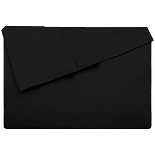 Lirex Drap Plat, 230 cm x 258 cm Size Drap Plat en Microfibre Brossée Extra Douce de Haute Qualité, Lavable en Machine, Respirant sans Plis, Noir