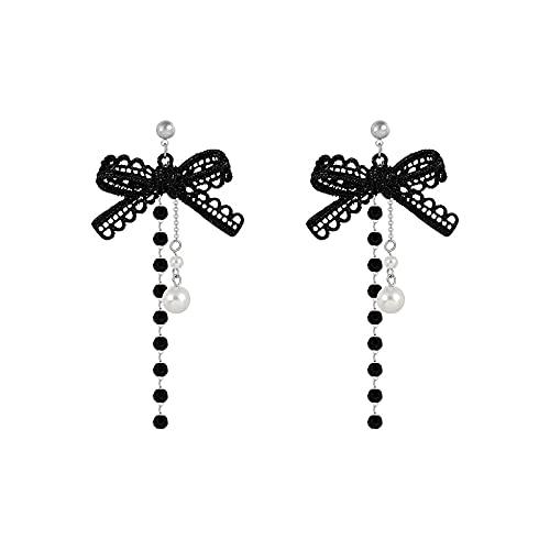 Pendientes de mariposa asimétricos retro, perlas de imitación, flores redondas, pendientes de alas largas (color metal: lazo negro)