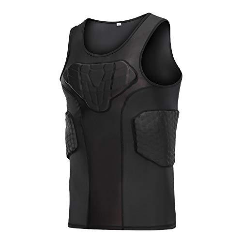 DGXINJUN Men's Padded Compression Shirt Vest (4-Pad) Sleeveless T-Shirt Ribs Protector
