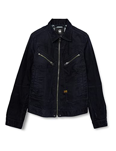 G-STAR RAW Air Force Slim Giacca in Denim, Nero (Mazarine Iced Flock C554-c081), S Uomo