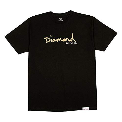 Diamond Supply Co OG Script T-Shirt Black Gold Gr. 56, Schwarz