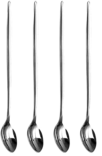 SKYTE Pack of 4 Latte Spoons Long Handle Stainless Steel Spoon Ideal for Coffee Tea, Espresso,Hot Drinks 21Cm L