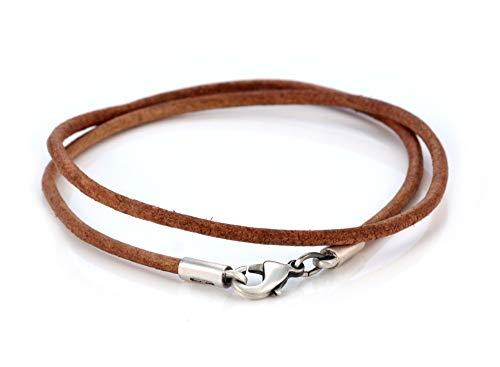 Bico Collar de Cuero Marrón de 3mm (CL7 Marrón 50cm) Surf Tribal Joyeria