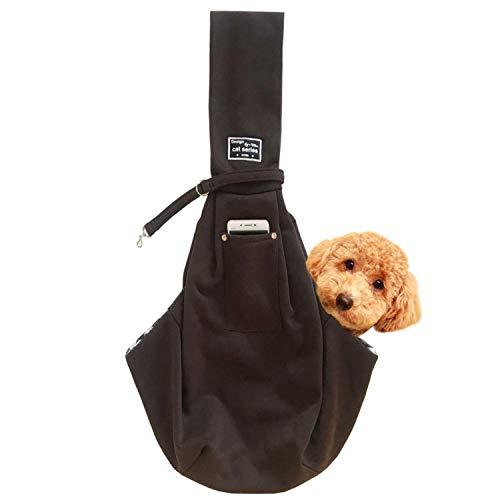 レットハート 犬 ペット スリングバック 抱っこひも 小型犬用 中型犬用 猫用 ペットスリング だっこひも 飛び出し防止機能 通院 サロン お出かけ 災害 公共機関で利用可能 (ダークブラウン)