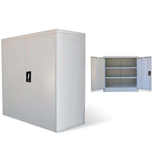 Festnight Metallschrank Büroschrank Aktenschrank Stahlschrank Büro Universalschrank mit 2 Türen 90 cm Grau