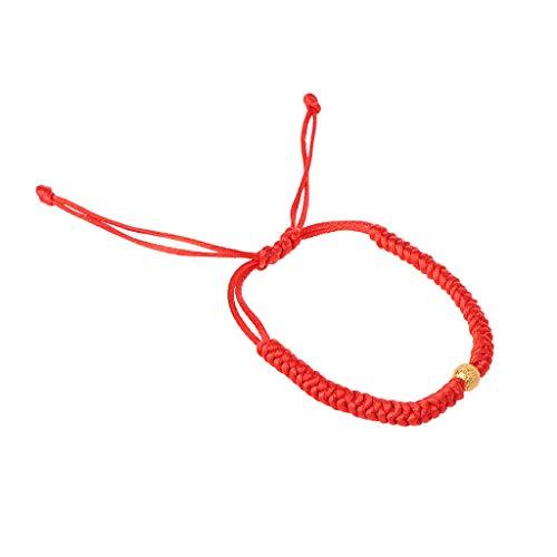 Xuebai Pulsera de protección Ocular de Hilo Rojo de Kabbalah Hecha a Mano, Pulsera de joyería con Cuentas de Oro de la Suerte, Rojo,