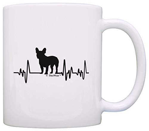 Bulldog francese Regali per le donne amante dei cani Heartbeat Francese Bulldog a tema regali cane francese amante regalo tazza da tè bianca