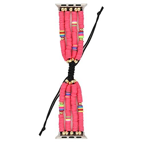 Correa trenzada bohemia para iWatch band 44 mm 40 mm 42 mm 38 mm para iwatch 5 4 3 2 1 pulsera de cuentas hechas a mano para niñas, rojo, 38 mm o 40 mm