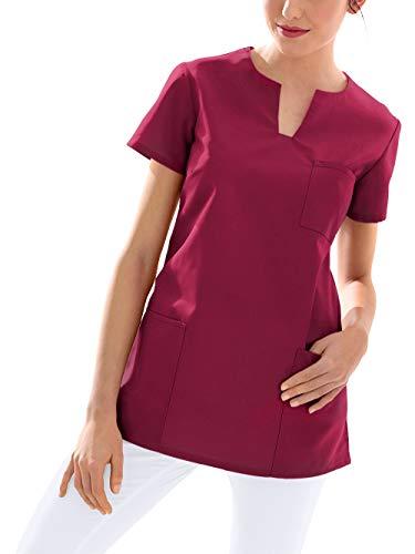 CLINIC DRESS Schlupfkasack Kasack Damen für Krankenpflege und Altenpflege 95 Grad Wäsche Bordeaux L