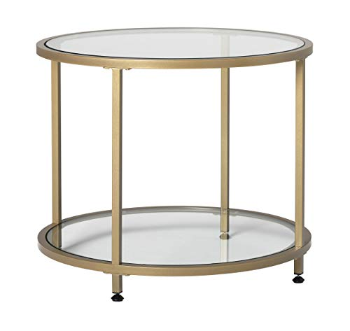 Studio Designs Home Camber 2-Tier Modern 26' Round End/SideTable in Gold/Clear Glass