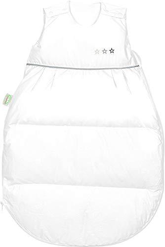 Set Odenwälder Daunen-Schlafsack mit Stoffwindel von Kinderhaus Blaubär/Baby Winterschlafsack mit Premiumdaunen & atmungsaktiv & längenverstellbar, Größe:90, Design:weiß
